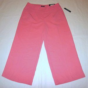 WORTHINGTON 4 MODERN FIT WIDE PINK CROP PANTS NEW